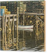 Port Clyde Maine Small Boat And Harbor Wood Print