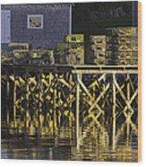 Port Clyde Pier On The Coast Of Maine Wood Print