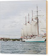 Juan Sebastian De Elcano Famous Tall Ship Of Spanish Navy Visits Port Mahon In Front Of Bloody Islan Wood Print