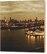 Port Miami Golden Photopaint Wood Print