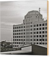 Port Of Galveston Building In B And W Wood Print