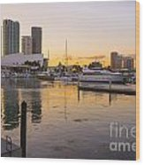 Port Of Miami At Sunset Wood Print