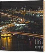 Port Of Miami Macarthur Causeway Wood Print