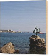 Port Of The Myloi And Dolphins - Rhodos Citys Wood Print