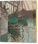 Port Of Trieste Wood Print by Egon Schiele