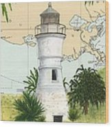 Port Pontchartrain Lighthouse La Chart Map Art Wood Print