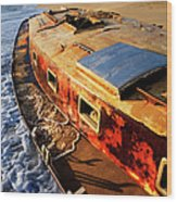 Port Side Down Captain - Outer Banks Wood Print