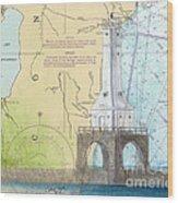 Port Washington Lighthouse Wi Nautical Chart Map Art Wood Print