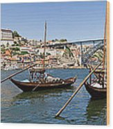 Port Wine Boats In Porto City Wood Print