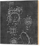 Portable Drum Set Patent 037 Wood Print