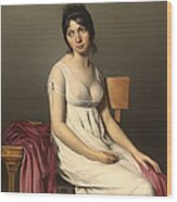 Portait Of A Young Woman In White Wood Print