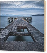 Portencross Pier  And Views To Arran Wood Print