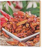 Portion Of Dried Chillies Wood Print