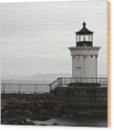 Portland Breakwater Light On A Hazy Day - Maine Wood Print