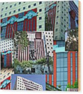 Portland Building Collage Wood Print