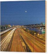 Portland City Blue Hour Wood Print