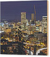 Portland Cityscape And Freeway At Blue Hour Wood Print