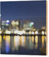 Portland Downtown Out Of Focus City Lights Wood Print