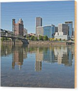 Portland Downtown Skyline And Hawthorne Bridge Wood Print