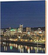 Portland Downtown Skyline At Blue Hour Wood Print