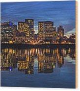 Portland Downtown Skyline At Blue Hour Panorama Wood Print