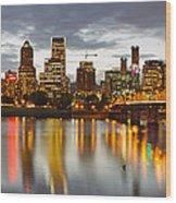 Portland Downtown Skyline At Sunset Wood Print