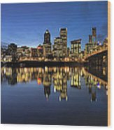 Portland Downtown Skyline By Hawthorne Bridge At Blue Hour Panor Wood Print