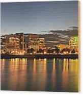 Portland Downtown Skyline Night Panorama Wood Print