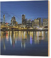 Portland Downtown With Hawthorne Bridge At Blue Hour Wood Print