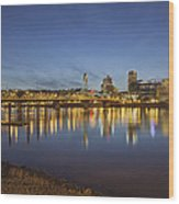 Portland Downtown With Hawthorne Bridge At Dusk Wood Print
