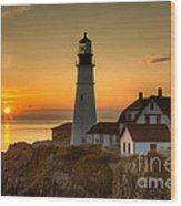 Portland Head Light At Sunrise II Wood Print