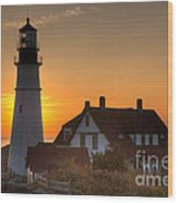 Portland Head Light At Sunrise IIi Wood Print