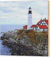Portland Head Light House In Maine Wood Print