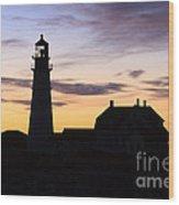Portland Head Light Silhouette  Wood Print
