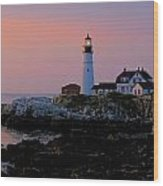 Portland Head Lighthouse At Daybreak Wood Print