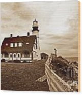 Portland Head Lighthouse In Sepia Wood Print