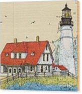 Portland Head Lighthouse Me Nautical Chart Map Art Wood Print