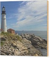 Portland Head Lighthouse Panoramic Wood Print