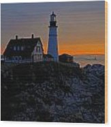 Portland Head Lighthouse Sunrise 2 Wood Print