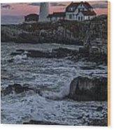 Portland Head Lighthouse Sunset Wood Print