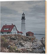 Portland Headlight 14456 Wood Print