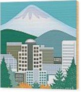 Portland Oregon Vertical Skyline Wood Print