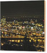 Portland Night Skyline Along Willamette River Panorama Wood Print