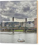 Portland Oregon Downtown Along Willamette River Wood Print