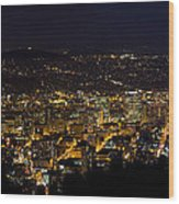 Portland Oregon Downtown Cityscape At Night Wood Print