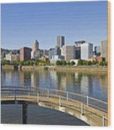 Portland Oregon Downtown Skyline Reflection 4 Wood Print