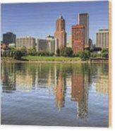 Portland Oregon Downtown Skyline Reflection Wood Print