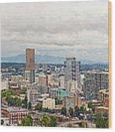 Portland Oregon Downtown View Panorama Wood Print