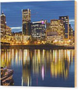 Portland Oregon Downtown Waterfront At Blue Hour Wood Print