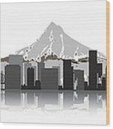 Portland Oregon Skyline 2 Wood Print by Daniel Hagerman